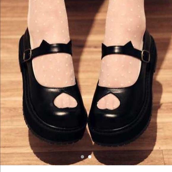addf13937775 japanese Shoes   New Mary Jane Womens Black Shoe 37 7 Kawaii Heart ...